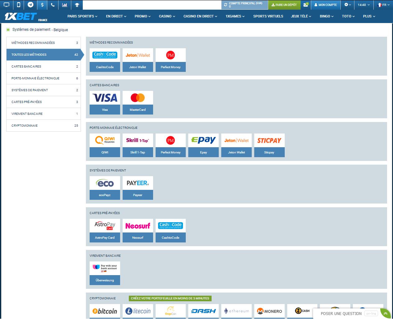 Modes de paiement pour la Belgique